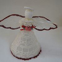 Knitted Angel Tree Topper Ornament Cream & Burgundy Holding Roses