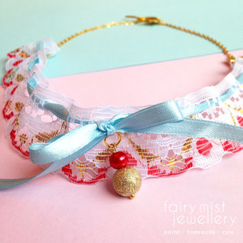 Lace Bib Necklace, Kawaii Neck Collar, Red and gold, pastel blue, Cute girly bow, Sweet Lolita Collar, Cute Choker