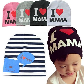 winter baby boy girl hats I LOVE MAMA PAPA winter cotton baby hat kids beanie cap bonnet enfant hat for 1-3 years gorro touca