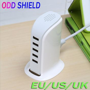 EU US UK Plug 5 Ports Multiple Wall USB Charger 30W 5V 6A Smart Adapter Android Mobile Phone Charging Data Device ODD SHIELD