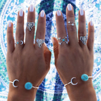 6PCS/LOT Turkish Vintage Steampunk Elephant Moon Midi Ring Set Anillos Bohemian Knuckle anelli Rings for Women Anel Dropship  0527