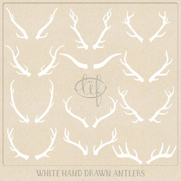Vector Antlers ClipArt Set White. Antlers Photoshop Brushes Hand Drawn for logo and other graphic design, chalkboard graphics etc.