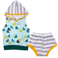 Summer baby Boys clothing set Tank Top T-shirt Sleeveless Hooded Short Bottoms Pants Infant Clothes 2pcs Baby Boys Outfit Set