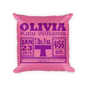 Baby Girl Birth Announcement II Woven Cotton Pillow