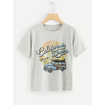 Heather Knit Graphic T-shirt