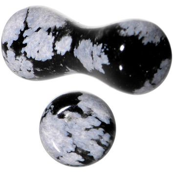 8 Gauge Obsidian Snowflake Natural Stone Saddle Plug Set