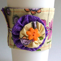 Pink Flowers Coffee Cup Cozy / Orange & Yellow Stripes Drink Sleeve