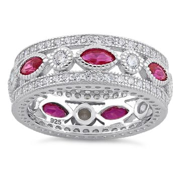 Marquise & Round Ruby Eternity Ring