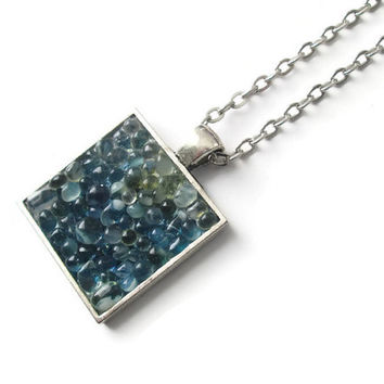 Blue Green Pendant necklace with clear glass pebbles, hand made modern mosaic jewelry with antique silver tone finish