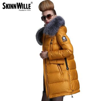 Fashion new arrival with a hood down coat female thickening wool collar medium-long women's