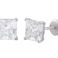 Clear Square CZ BASKET Set SCREWBACK Stud Earrings Sterling Silver 925