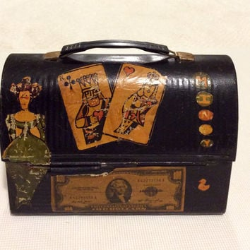 1970's Metal Lunch Box Decorated With Vintage Stickers & Paisley Retro Interior, Thermos Brand Metal Lunchbox, Vintage Metal Lunch Box, Box