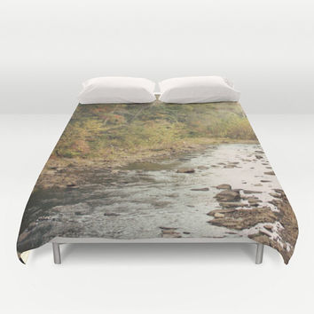 Art Duvet Cover In the Woods 2 Modern Photography home decor Bed Cover scenic Green brown stream mother nature landscape bedding Queen king