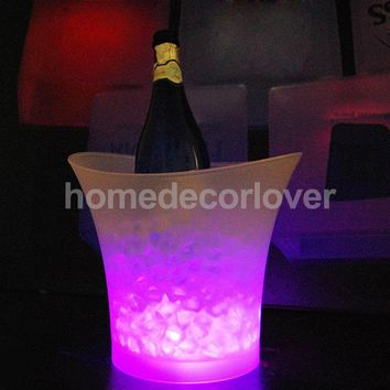 3 Colors Change LED Ice Bucket Champagne Wine Beer Cooler Party KTV Clubs Xmas 5L PICK