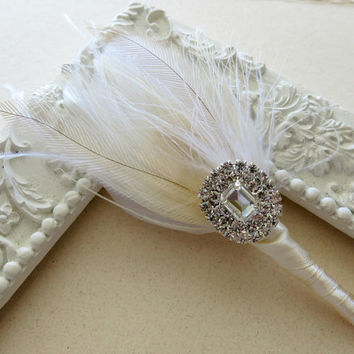 Boutonniere Wedding Groom Groomsmen Ivory White Champagne Peacock Feather Boutonniere Lapel Pin Buttonhole