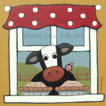 COW PIES - Whimsical Cow Painting by Annie Lane - Whimsical Kitchen Art - Fun Animals Painting on Wood- Animal Whimsy - Folk Art Cow