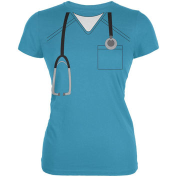 Halloween Doctor Scrubs Costume Aqua Juniors Soft T-Shirt