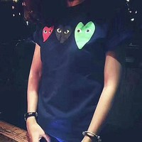 PLAY love heart print T-Shirt Top Tee H-A-XYCL