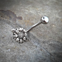 Sun Flower Cute Belly Button Navel Ring Body Jewelry Fits in Navel 14ga Belly Ring Surgical Steel