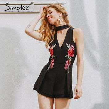PEAP78W Simplee Halter elegant jumpsuit romper 2017 Hollow out embroidery playsuit for women deep v overalls short leotard