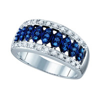 Blue Diamond Fashion Ring in 10k White Gold 0.51 ctw