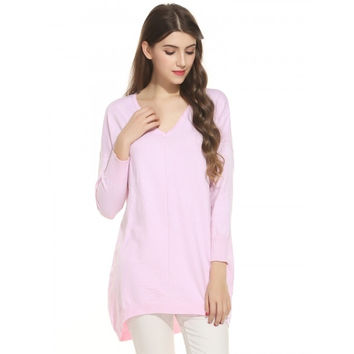 Women V-Neck Long Sleeve Casual Loose Fit Knit Pullover Sweater