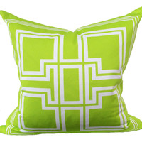 Morgan Classic Lime Green Greek Key Pillow Cover