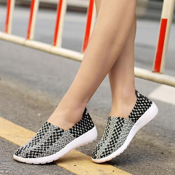 NEW Fashion Women Casual Shoes Slip On Summer Woven Loafers Women's flats Style Women