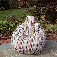 Outdoor/Indoor Weather Resistant Sunbrella Bean Bag (Steeplechase Malibu) (30H x 34W x 36D)