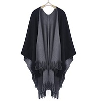 Winter Knitted Cashmere Poncho Cape