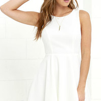 Gal About Town Ivory Skater Dress