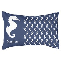 Nautical Seahorses Pattern And Pet's Name Dog Bed