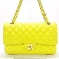 Auth CHANEL Double Flap Matelasse A01112 Yellow Silver Lambskin Shoulder Bag