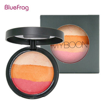BLUEFRAG 6 Colors Silky Texture Baked Blush Palette Baked Cheek Color Blusher Blush Maquiagem Brand Makeup Baking Blush BL365