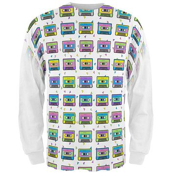 Retro Cassette Tape Pattern All Over Mens Long Sleeve T Shirt