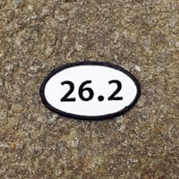 "26.2 Marathon Patch - Iron or Sew On - 2"" x 3.5"" - Embroidered Oval Runners Applique - Black White - Hat Bag Sport Accessory - Handmade USA"