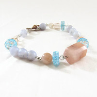 Pastel gemstone bracelet, Semi precious gemstone bracelet with aventurine and blue lace agate, gemstone t-bar bracelet, handmade in the UK