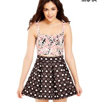 Aeropostale Womens Heart Print Skater Skirt - Black,