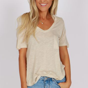 Pocketed Boyfriend Tee Twill Beige