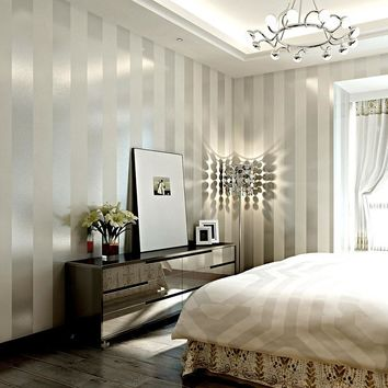 Modern striped non-woven wallpaper living room bedroom background wall papper