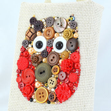 Mister Owl - Button Art Vintage Buttons Swarovski Crystal Rhinestones Pearl Cabochons Flower Cabochons