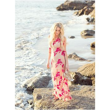 """See Through Bohemian Maxi Dress """"Orchid"""" With Red Flower Print Three Quarter Sleeves See Thru Sizes Small Medium Large Or Extra Large"""
