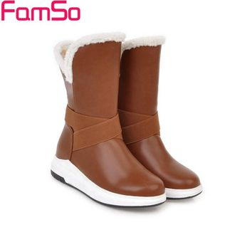 FAMSO Size 34-43 2017 New Shoes Women Boots Heels Mid-Calf Riding Boots Winter Russia Waterproof  Full Fur Snow Boots For Casual