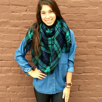 Falling Leaves Blanket Scarf- Blue