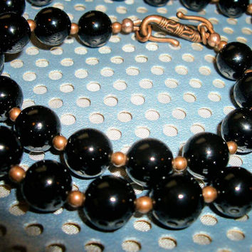 Copper and Black Onyx Men's Necklace