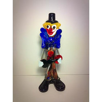 "Murano Hand Blown Glass Clown Statue with Guitar Italian Art Venetian 10"" Vintage Murano Glass Circus"