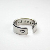 To Infinity And Beyond Secret Message Ring, Love And Friendship Ring, Hand Stamped Aluminum Wrap Ring