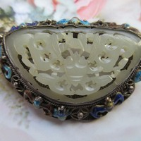 Vintage Deco 1920s Enameled Jade Pin Brooch