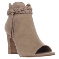 XOXO Belina Peep-Toe Ankle Booties, Taupe, 7.5 US / 38.5 EU