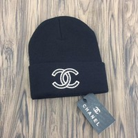 CHANEL Embroidered Logo Knit Hat Cap